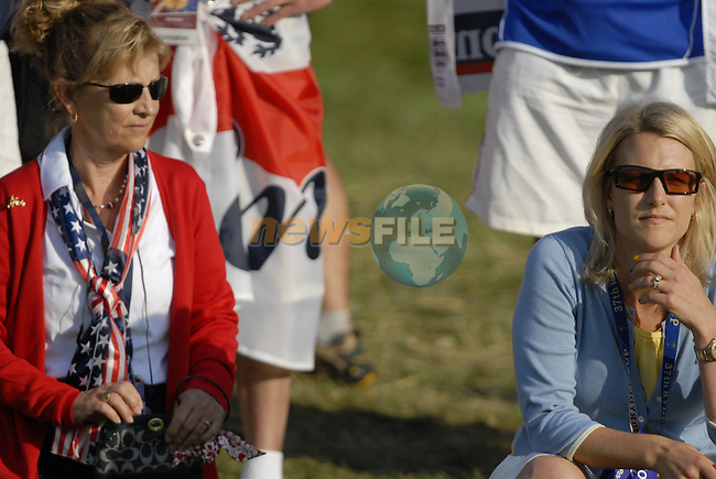 Opposing team WAGs watch as Jusin Leonard and Paul Casey drive off on the 5th tee during the Morning Foursomes on Day1 of the Ryder Cup at Valhalla Golf Club, Louisville, Kentucky, USA, 19th September 2008 (Photo by Eoin Clarke/GOLFFILE)