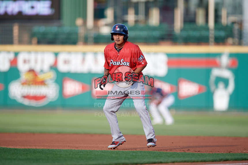 Pawtucket Red Sox shortstop Tzu-Wei Lin (5) leads off first base during a game against the Rochester Red Wings on July 4, 2018 at Frontier Field in Rochester, New York.  Pawtucket defeated Rochester 6-5.  (Mike Janes/Four Seam Images)