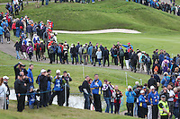 Crowds snake around the course during the first practice day ahead of the 2014 Ryder Cup at Gleneagles, Perthshire, Scotland 26th to 28th September 2014. Picture David Lloyd / www.golffile.ie.