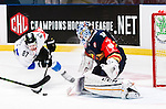 ***BETALBILD***  <br /> Stockholm 2015-09-04 Ishockey CHL Djurg&aring;rdens IF - EV Zug :  <br /> Djurg&aring;rdens m&aring;lvakt goalkeeper Mantas Armalis r&auml;ddar en m&aring;lchans f&ouml;r Zugs Dario B&uuml;rgler under matchen mellan Djurg&aring;rdens IF och EV Zug <br /> (Foto: Kenta J&ouml;nsson) Nyckelord:  Ishockey Hockey CHL Hovet Johanneshovs Isstadion Djurg&aring;rden DIF Zug