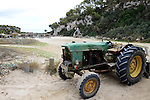 SPAIN Mallorca, old John Deere tractor to clean the beach
