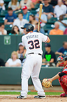Carolina League All-Star David Freitas #32 of the Potomac Nationals at bat against the California League All-Stars during the 2012 California-Carolina League All-Star Game at BB&T Ballpark on June 19, 2012 in Winston-Salem, North Carolina.  The Carolina League defeated the California League 9-1.  (Brian Westerholt/Four Seam Images)