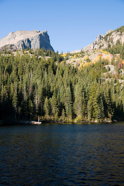 Hallett Peak, person, fall, nature, September, morning, Bear Lake, Rocky Mountain National Park, Colorado, Rocky Mountains, USA