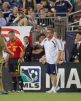 New England Revolution head coach Steve Nicol expresses his opinion of red card. The Philadelphia Union defeated New England Revolution, 2-1, at Gillette Stadium on August 28, 2010.