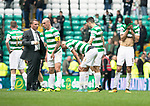 Celtic v St Johnstone &hellip;26.08.17&hellip; Celtic Park&hellip; SPFL<br />Brendan Rodgers talsk with skipper Scott Brown at full time as Nir Bitton shows his disappointment<br />Picture by Graeme Hart.<br />Copyright Perthshire Picture Agency<br />Tel: 01738 623350  Mobile: 07990 594431
