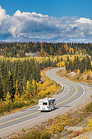 Motorhome travels George Parks highway, Interior, Alaska.