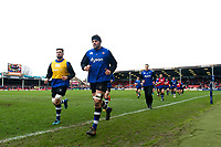 Charlie Ewels and the rest of the Bath Rugby team run off the field at the end of the pre-match warm-up. Anglo-Welsh Cup Final, between Bath Rugby and Exeter Chiefs on March 30, 2018 at Kingsholm Stadium in Gloucester, England. Photo by: Patrick Khachfe / Onside Images