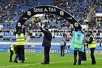 Stewards work to prepare a Serie A banner before the Serie A 2018/2019 football match between SS Lazio and Spal at stadio Olimpico, Roma, November 04, 2018 <br />  Foto Andrea Staccioli / Insidefoto