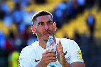 New Zealand's Michael Boxall thanks fans after the 2018 FIFA World Cup Russia first-leg playoff football match between the NZ All Whites and Peru at Westpac Stadium in Wellington, New Zealand on Saturday, 11 November 2017. Photo: Dave Lintott / lintottphoto.co.nz