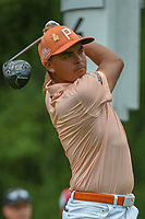 Rickie Fowler (USA) watches his tee shot on 4 during 4th round of the World Golf Championships - Bridgestone Invitational, at the Firestone Country Club, Akron, Ohio. 8/5/2018.<br /> Picture: Golffile | Ken Murray<br /> <br /> <br /> All photo usage must carry mandatory copyright credit (© Golffile | Ken Murray)