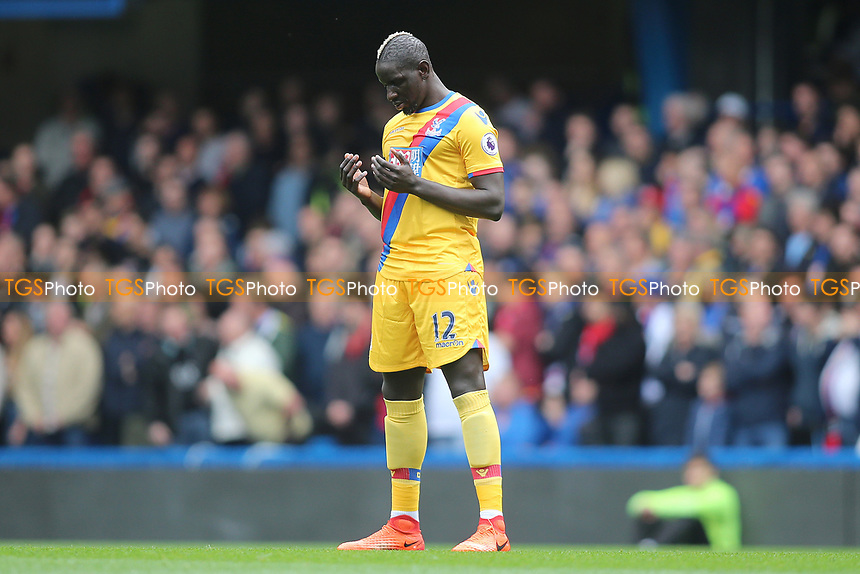 Mamadou Sakho of Crystal Palace before kick off during Chelsea vs Crystal Palace, Premier League Football at Stamford Bridge on 1st April 2017