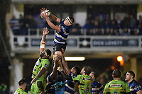 Tom Ellis of Bath Rugby wins the ball at a lineout. Anglo-Welsh Cup Semi Final, between Bath Rugby and Northampton Saints on March 9, 2018 at the Recreation Ground in Bath, England. Photo by: Patrick Khachfe / Onside Images