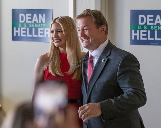 Ivanka Trump and Senator Dean Heller meet with Heller campaign volunteers at the RNC field office in Reno, Thursday, Nov. 1, 2018.