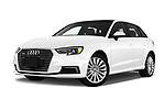 Stock pictures of low aggressive front three quarter view of 2018 Audi A3 Sportback e tron Premium  5 Door Hatchback