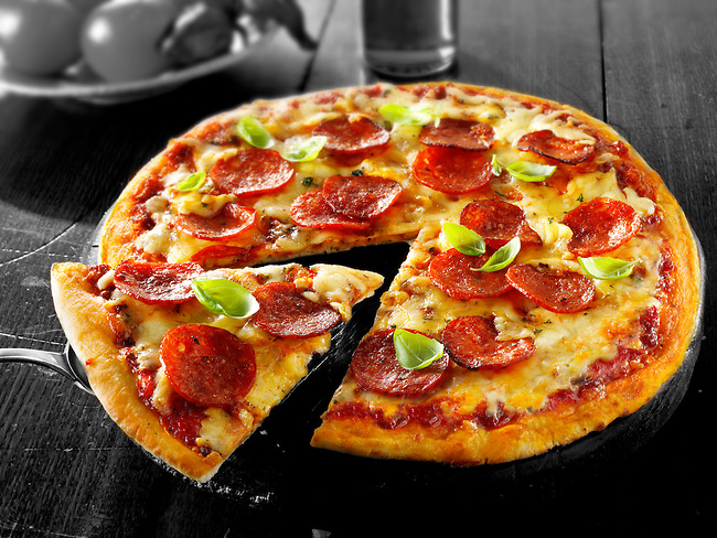 Italian pepperoni Pizza photo. Funky stock pizzas photos