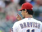 Yu Darvish (Rangers),.APRIL 30, 2013 - MLB :.Pitcher Yu Darvish of the Texas Rangers gives a sign during the baseball game against the Chicago White Sox at Rangers Ballpark in Arlington in Arlington, Texas, United States. (Photo by AFLO)
