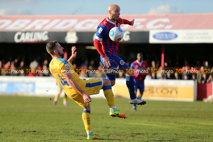 Luke George of Chester and Luke Guttridge of Dagenham during Dagenham & Redbridge vs Chester, Vanarama National League Football at the Chigwell Construction Stadium on 4th February 2017