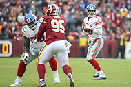 Landover, MD - December 9, 2018: New York Giants quarterback Eli Manning (10) looks to throw a pass during the  game between New York Giants and Washington Redskins at FedEx Field in Landover, MD.   (Photo by Elliott Brown/Media Images International)