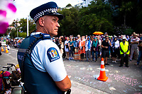 Senior constable Aaron Dann of NZ Police. NZ marks one week since Christchurch terror attacks. Wellington Islamic Centre in Wellington, New Zealand on Friday, 22 March 2019. Photo: Dave Lintott / lintottphoto.co.nz