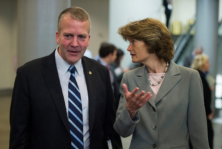 UNITED STATES - MAY 21: Alaska Senators Dan Sullivan and Lisa Murkowski speak with a group of constituents in the Senate subway as they head to the Senate floor for the vote cut off a filibuster of President Barack Obama's Trade Promotion Authority package on Thursday, May 21, 2015. (Photo By Bill Clark/CQ Roll Call)
