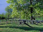 Gettysburg National Military Park, PA<br /> Cannon along fence line on Seminary Ridge