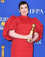 05 January 2020 - Beverly Hills, California - Olivia Colman. 77th Annual Golden Globes - Press Room held at Beverly Hilton Hotel. Photo Credit: Birdie Thompson/AdMedia