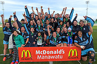 Kia Toa celebrates winning the 2019 Manawatu premier women's club rugby Prue Christie Cup final match between Feilding Old Boys Oroua and Kia Toa at CET Arena in Palmerston North, New Zealand on Saturday, 13 July 2019. Photo: Dave Lintott / lintottphoto.co.nz