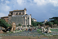 Italy: Rome--Roman Forum, looking towards Temple of Antoninus and Faustina.