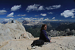 Beth on Mount Marmolada  in Dolomites Mountains, northern Italy, Europe.