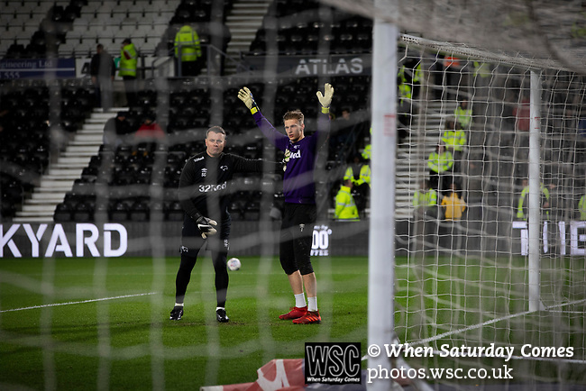 Reserve goalkeeper Henrich Ravas is put through his paces during the pre-match warm up before Derby County played Stoke City in an EFL Championship match at Pride Park Stadium. Opened in 1997, it is the 16th-largest football ground in England and the 20th-largest stadium in the United Kingdom. The fixture ended in a 0-0 draw watched by a crowd of 25,685.