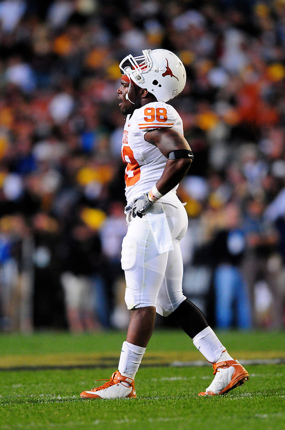 04 October 2008: Texas defensive end Brian Orakpo between plays against Colorado. The Texas Longhorns defeated the Colorado Buffaloes 38-14 at Folsom Field in Boulder, Colorado. For Editorial Use Only