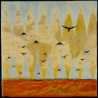 Mixed media photography on antique map with encaustic painting of birds flying over a red ocean.