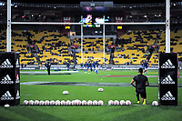 Richie Mo'unga warms up during the Steinlager Series international rugby match between the New Zealand All Blacks and France at Westpac Stadium in Wellington, New Zealand on Saturday, 16 June 2018. Photo: Dave Lintott / lintottphoto.co.nz
