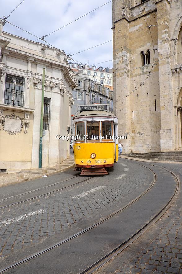 Lisbon, Portugal. 21.03.2015. Tram 28, Largo da Se, Lisbon, Portugal. © Jane Hobson.