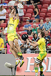 Liam McNamara of Australia misses the ball during the match Australia vs England, the Bronze Final of Day 2 of the HSBC Singapore Rugby Sevens as part of the World Rugby HSBC World Rugby Sevens Series 2016-17 at the National Stadium on 16 April 2017 in Singapore. Photo by Victor Fraile / Power Sport Images