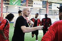 Players practice for the United States Homeless World Cup team in New York City on July 11, 2004.