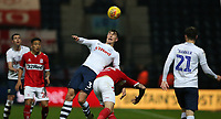 Preston North End's Josh Earl battles with Middlesbrough's Jordan Hugill<br /> <br /> Photographer Stephen White/CameraSport<br /> <br /> The EFL Sky Bet Championship - Preston North End v Middlesbrough - Tuesday 27th November 2018 - Deepdale Stadium - Preston<br /> <br /> World Copyright © 2018 CameraSport. All rights reserved. 43 Linden Ave. Countesthorpe. Leicester. England. LE8 5PG - Tel: +44 (0) 116 277 4147 - admin@camerasport.com - www.camerasport.com