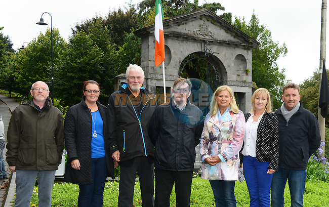 Pictured at the Sinn Féin Hunger Strikes commemoration in Drogheda on Saturday afternoon were (from left) chairperson of Louth Sinn Féin Pat McVeigh, Cllr. Edel Corrigan, Stan Corrigan, Cllr. Pierse McGeogh, Eimear Ferguson of Meath Sinn Féin, Cllr. Imelda Munster and Cllr. Paddy McQuillan. Photo: Andy Spearman.