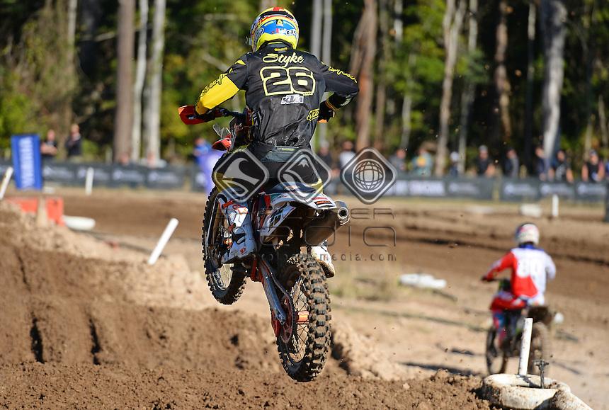 Luke Styke  / KTM<br /> MX Nationals / Round 6 / MX1<br /> Australian Motocross Championships<br /> Raymond Terrace NSW<br /> Sunday 5 July 2015<br /> &copy; Sport the library / Jeff Crow