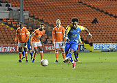 18/12/18 The Emirates FA Cup, 2nd Round Replay Blackpool v Solihull Moor<br /> <br /> Adi Yussuf scores from the penalty spot for Solihull Moors