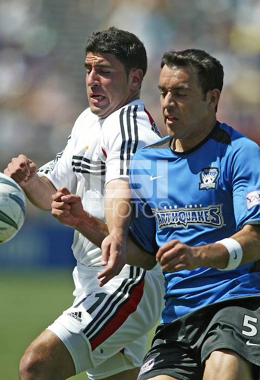 DC United forward Alecko Eskandarian and San Jose Earthquakes midfielder Ramiro Corrales battle for a ball during their MLS match on May 1, 2004 at Spartan Stadium in San Jose, California.
