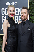 Leslie Bibb and Sam Rockwell, nominated for BEST PERFORMANCE BY AN ACTOR IN A SUPPORTING ROLE IN A MOTION PICTURE for his role in &quot;Three Billboards Outside Ebbing, Missouri,&quot; arrive at the 75th Annual Golden Globe Awards at the Beverly Hilton in Beverly Hills, CA on Sunday, January 7, 2018.<br /> *Editorial Use Only*<br /> CAP/PLF/HFPA<br /> &copy;HFPA/PLF/Capital Pictures