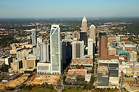 Aerial photography of the Charlotte, North Carolina skyline. The skyline views of Bank of America Corporate Center, Duke Energy Center, Bank of America Stadium and the Charlotte Knights Baseball Stadium.<br /> <br /> Charlotte Photographer - PatrickSchneiderPhoto.com