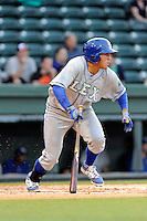Left fielder Samir Duenez (3) of the Lexington Legends bats in a game against the Greenville Drive on Tuesday, April 14, 2015, at Fluor Field at the West End in Greenville, South Carolina. Lexington won, 5-3. (Tom Priddy/Four Seam Images)