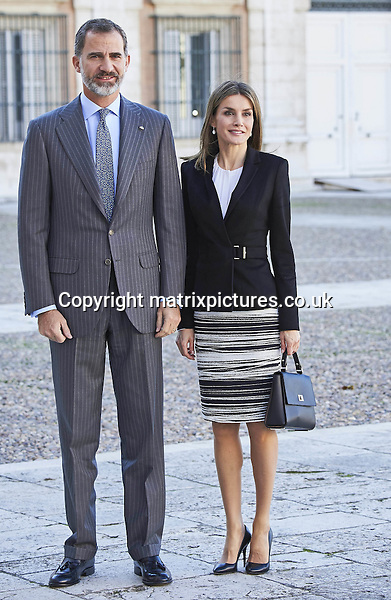 NON EXCLUSIVE PICTURE: MATRIXPICTURES.CO.UK<br /> PLEASE CREDIT ALL USES<br /> <br /> UK RIGHTS ONLY<br /> <br /> Queen Letizia and King Felipe attending the International Symposium of Carlos III at the Royal palace in Aranjuez, Spain.<br /> <br /> The symposium marks the 300th anniversary of the birthday of Spanish King Carlos III.<br /> <br /> NOVEMBER 7th 2016<br /> <br /> REF: FTF 163487<br /> <br /> PPE/Thorton<br /> <br /> 33489647