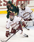Connor Moore (BC - 7), Travis Blanliel (UVM - 10), Joe Woll (BC - 31) - The visiting University of Vermont Catamounts tied the Boston College Eagles 2-2 on Saturday, February 18, 2017, Boston College's senior night at Kelley Rink in Conte Forum in Chestnut Hill, Massachusetts.Vermont and BC tied 2-2 on Saturday, February 18, 2017, Boston College's senior night at Kelley Rink in Conte Forum in Chestnut Hill, Massachusetts.