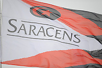 20130324 Copyright onEdition 2013©.Free for editorial use image, please credit: onEdition..Detail of the Saracens flag above the South stand during the Premiership Rugby match between Saracens and Harlequins at Allianz Park on Sunday 24th March 2013 (Photo by Rob Munro)..For press contacts contact: Sam Feasey at brandRapport on M: +44 (0)7717 757114 E: SFeasey@brand-rapport.com..If you require a higher resolution image or you have any other onEdition photographic enquiries, please contact onEdition on 0845 900 2 900 or email info@onEdition.com.This image is copyright onEdition 2013©..This image has been supplied by onEdition and must be credited onEdition. The author is asserting his full Moral rights in relation to the publication of this image. Rights for onward transmission of any image or file is not granted or implied. Changing or deleting Copyright information is illegal as specified in the Copyright, Design and Patents Act 1988. If you are in any way unsure of your right to publish this image please contact onEdition on 0845 900 2 900 or email info@onEdition.com
