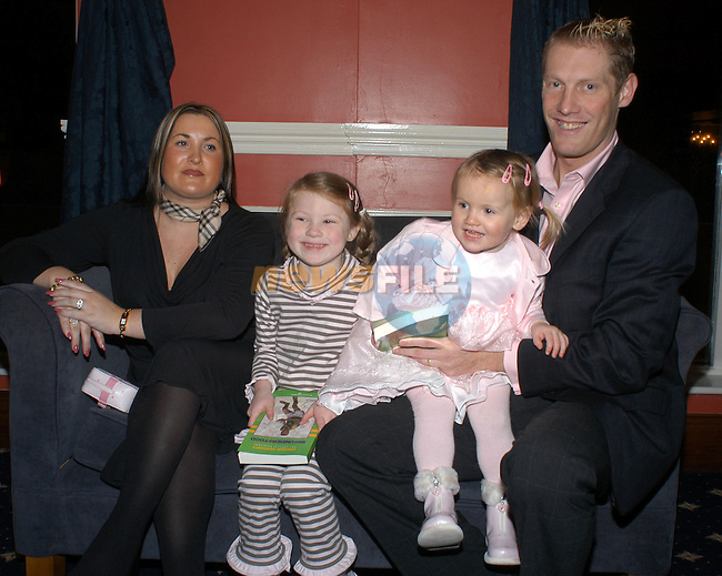 18-11-03 - Launch of Graham Geraghty biography 'Misunderstood' at the Old Darnley Lodge Hotel, Athboy, County Meath..From L to R: Graham's wife Amanda, daughters Sophia and Lauren and Graham., .Photo:Barry Cronin/Newsfile.   ..This Picture has been sent to you by Newsfile Ltd..The Studio,.Millmount Abbey,.Drogheda,.Co. Meath,.Ireland..Tel: +353(0)41-9871240.Fax: +353(0)41-9871260.ISDN: +353(0)41-9871010.www.newsfile.ie..general email: pictures@newsfile.ie