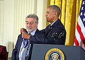 United States President Barack Obama presents the Presidential Medal of Freedom to actor Robert De Niro during a ceremony in the East Room of the White House in Washington, DC on Tuesday, November 22, 2016.  The Presidential Medal of Freedom is the Nation's highest civilian honor.<br /> Credit: Ron Sachs / CNP