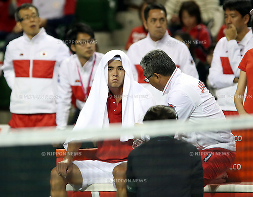 February 3, 2017, Tokyo, Japan - Japan's Taro Daniel listens to team captain Minoru Ueda during the Davis Cup World Group First Round tennis match against France's Richard Gasquet in Tokyo on Friday, February 3, 2017. Gasquet defeated Daniel 6-2, 6-3, 6-2 at the opening game.    (Photo by Yoshio Tsunoda/AFLO) LWX -ytd-